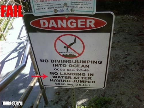 diving g rated jumping landing oddly specific signs water