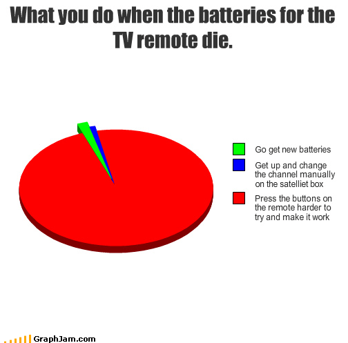 batteries,buttons,channel,die,manual,Pie Chart,press,remote control,TV,work