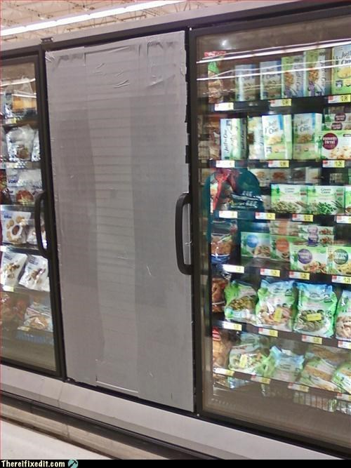 door,duct tape,freezer,grocery store