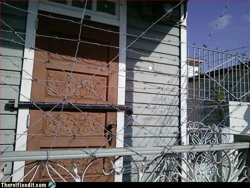 barb wire go away Mission Improbable stay out - 3192500992