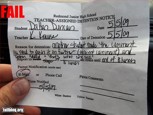 detention,Hall of Fame,school,teachers note,thats what she said