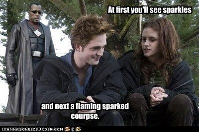 At first you'll see sparkles and next a flaming sparked courpse.