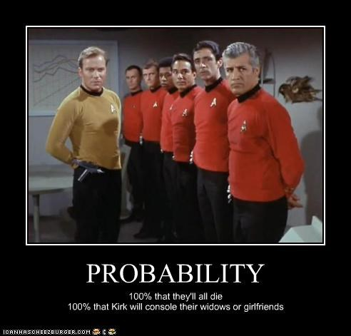 PROBABILITY 100% that they'll all die 100% that Kirk will console their widows or girlfriends
