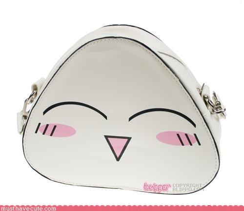 accessory bag cute-kawaii-stuff food handbag onigiri purse rice snack sushi vinyl white