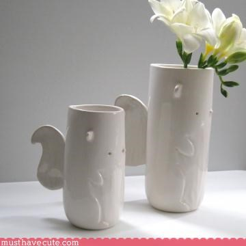 animal pottery squirrel vase white
