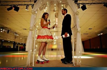 Crazy Brides fashion is my passion groom Olivia Newton-John rollerskate technical difficulties were-in-love wedding on wheels Wedding Themes Xanadu - 3194992128