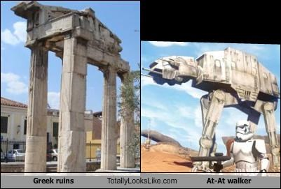 ancient,at-at walker,greek,ruins,star wars