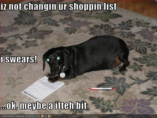 dachshund,food,groceries,list,nom,shopping