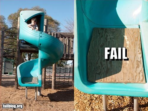 g rated,maintenance,ouch,playground,slide,wood