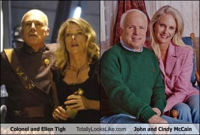 Battlestar Galactica,Cindy McCain,colonel tigh,ellen tigh,john mccain,politics,TV
