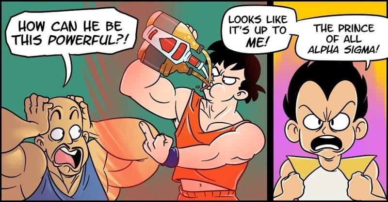 Funny comics imagining Goku as a frat boy.