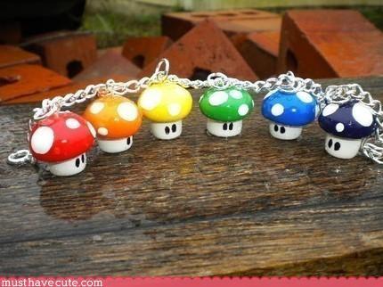 bracelet,Jewelry,mario,mushroom,rainbow