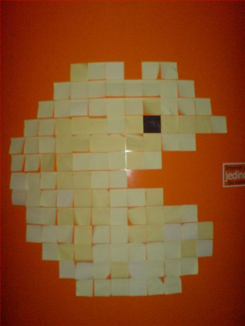 art atari boredom clever creativity in the workplace cubicle boredom ingenuity old school pac man paper signs prank spite throwback video games wasteful wiseass - 3199649792