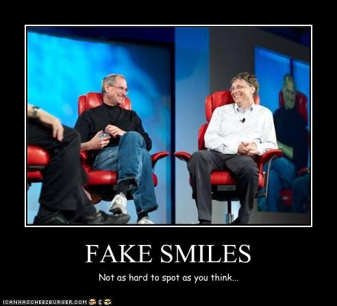 apple,Bill Gates,billionaire,computers,fake,microsoft,smiles,steve jobs