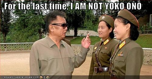 Kim Jong-Il lookalikes North Korea sunglasses yoko ono