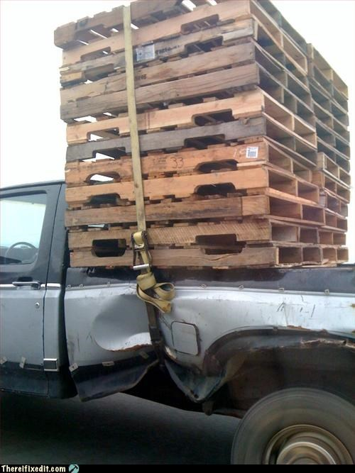 pallets,tied together,too tight,truck