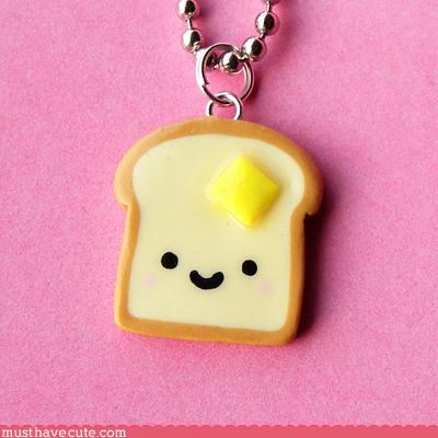 Faces On Stuff food Jewelry necklace toast - 3202574336