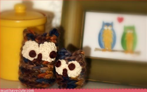 animal Crocheted hand made Knitted Owl - 3202729216