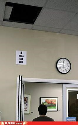 basic instructions,ceiling,clever,creativity in the workplace,cubicle prank,ergonomics,exit,lazy,ninja,official sign,osha,paper signs,prank,sass,signage,tile,wiseass,work smarter not harder