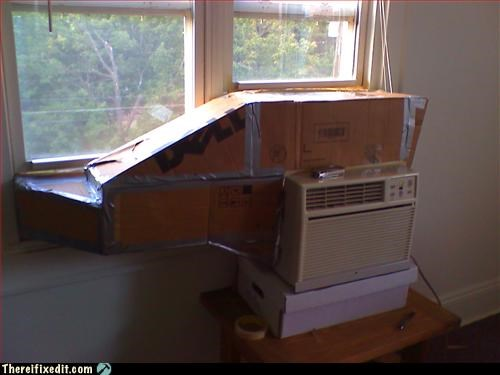 cardboard box,duct tape,vent,window-ac