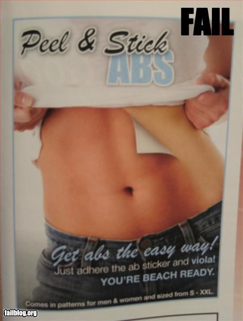 Sexy abs fail Saw this ad in a magazine.