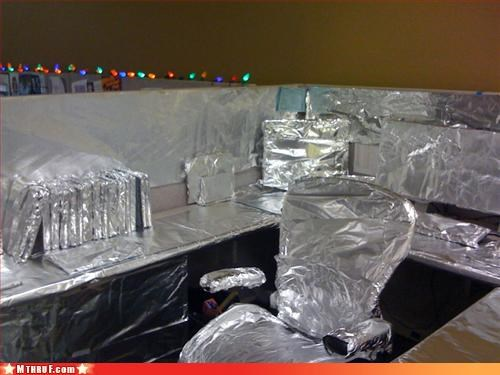 awesome co-workers not boredom boring creativity in the workplace cubicle boredom cubicle fail cubicle prank cubicle rage dickhead co-workers dickheads dont-submit-these-anymore foil go away i hate you lame lazy mess please stop prank pwned repetitive Sad screw you stupid unoriginal wrapping - 3206564352