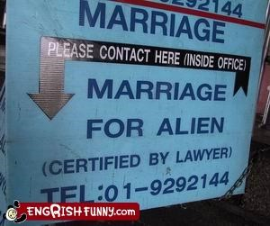 alien g rated lawyer marriage signs