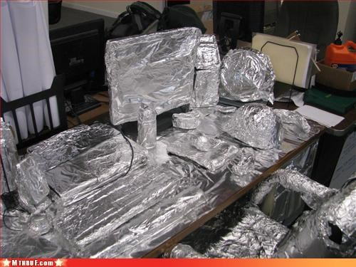 art awesome co-workers not boredom captain planet approves clever creativity in the workplace cubicle boredom cubicle prank dickhead co-workers elevated carbon footprint foil prank pwned screw you sculpture shameful tinfoil wasteful wiseass wrapping