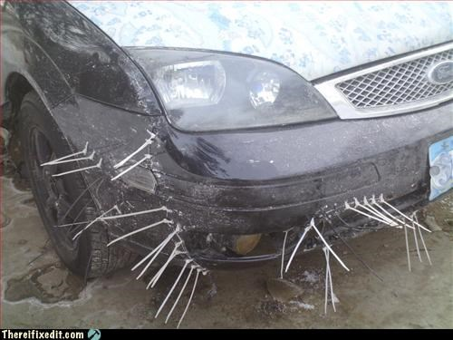 car frankenstein stitched together zip ties