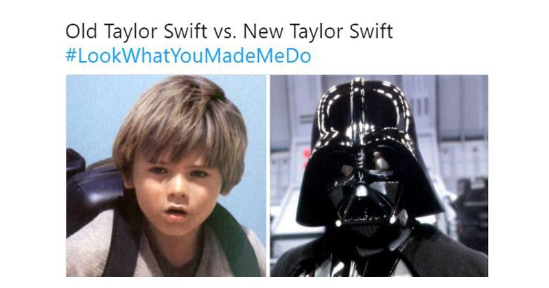 "Collection of funny memes and twitter reactions to Taylor Swift's song and the video for ""Look What You Made Me Do"" star wars, how i met your mother, avril lavigne, lana del rey."