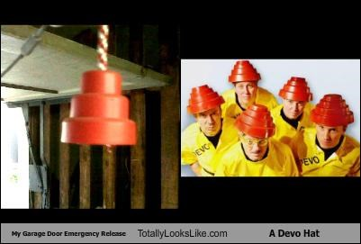 band,Devo,emergency,garage door,hats