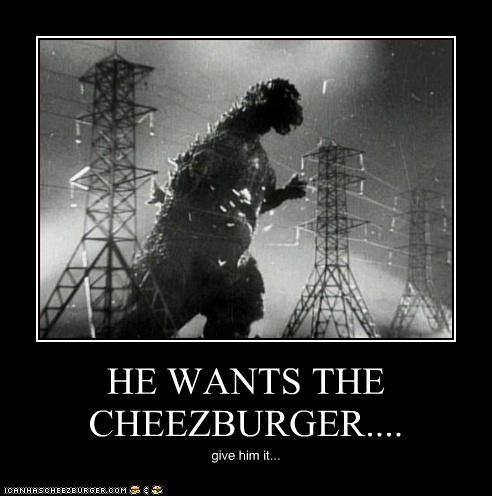 HE WANTS THE CHEEZBURGER.... give him it...