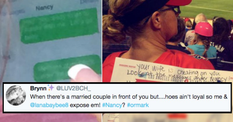 Girl witnesses a woman sexting at a baseball game and leaves a note for her husband