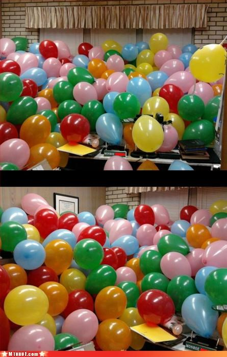 awesome co-workers not Balloons balloons are awful boredom creativity in the workplace cubicle boredom cubicle prank destroy hope-they-dont-have-a-latex-allergy justice mess monroe gonna have to choke a bitch prank pwned RATM revenge riot stab stab stab wiseass - 3211271168