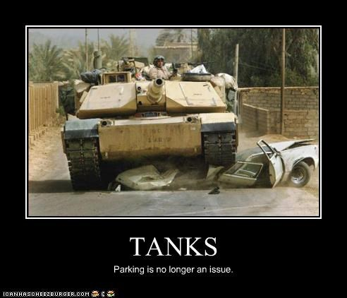 TANKS Parking is no longer an issue.