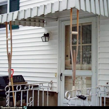 awning,crutches,porch,propped up,recycling-is-good-right