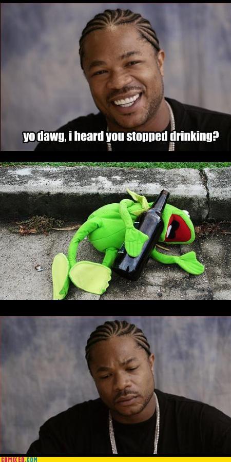 depression,drinking,kermit,Xxzibit,xzhibit