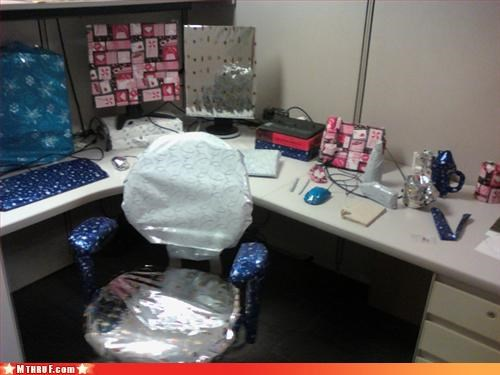 awesome co-workers not,boredom,christmas whatever,creativity in the workplace,cubicle boredom,cubicle prank,dickhead co-workers,hate,hoors,mess,prank,pwned,rage,wasteful,wrapping,wrapping paper