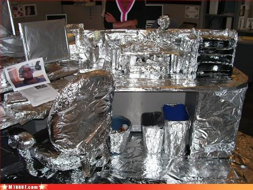 awesome co-workers not boredom boring cubicle boredom cubicle fail cubicle prank cubicle rage dickhead co-workers dickheads foil go away knock it off lame lazy mess prank Pranked on Vacation pwned Sad screw you stop stupid unoriginal prank i hate you guys unoriginal wrapping - 3218469632