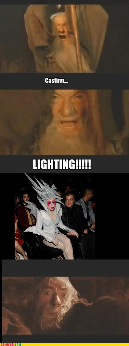celebutard,From the Movies,gandalf,lady gaga,lightning bolt,Lord of the Rings,magic