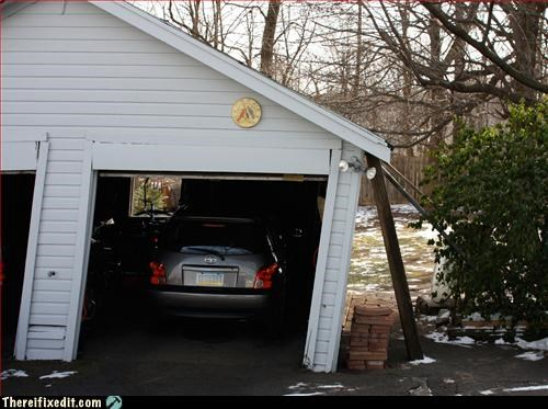 garage,leaning,propped up,wooden beam