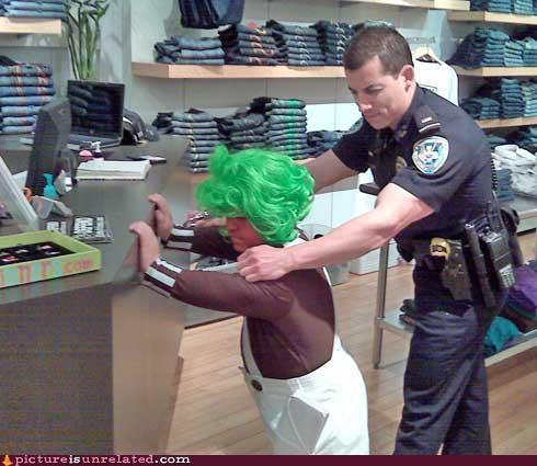 cops,oompa loompa,the gap,under arrest,wtf