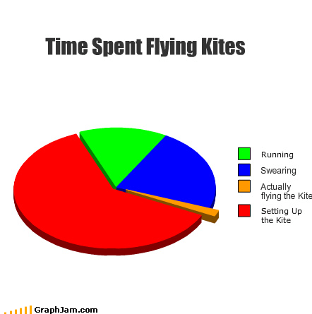 flying kites Pie Chart running swearing time