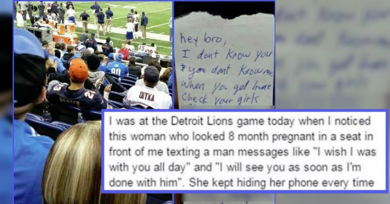 Guy leaves a note for a woman's husband after he sees her texting her other lover at a Detroit Lions game