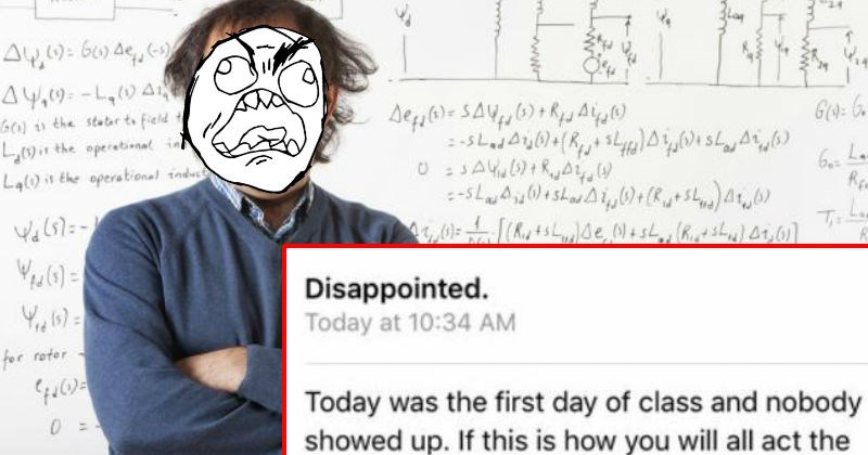 Angry college professor emails his students after nobody shows up for the first day of class.