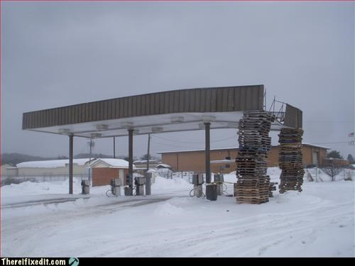 gas station,pallet,propped up