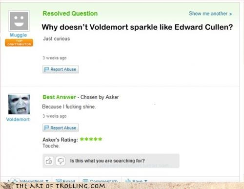 Hall of Fame Harry Potter sparkles twilight vampires Yahoo Answer Fails - 3223290368
