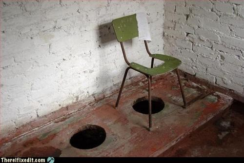 bathroom,chair,hole,Mission Improbable,use what you have
