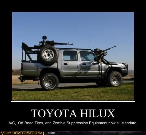 awesome,hilarious,machine guns,Pure Awesome,toyota,zombie,zombies prepared