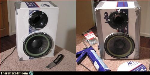 cardboard box,duct tape,speakers,stereo